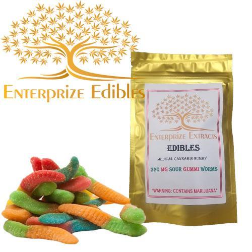 3x $40 -- 320mg Sour Gummy Worms by Enterprize Edibles