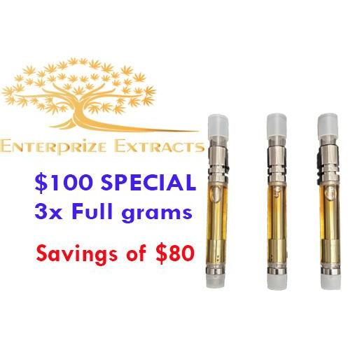 $100 -- 3 Grams of Vape Cartridges by Enterprize Extracts